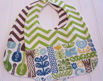 SWEET NATURALS/Organic Line/Baby Bib/Infant--18 mo./Set of Two Bibs/Ipanema(Organic)/Organic Fleece Back
