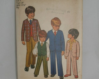 Boys Suit Pattern Size 5 Simplicity 9651 Vintage Little Boys Pattern Boys Jacket Pants Reversible Vest Ring Bearer Special Occasion Pattern