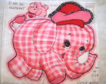 Vintage 1950s Pink Elephant Fabric Pillow Panel, Pink Circus Elephant, Soft Stuffed Toy Fabric Panel