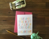 SUMMER STEAL THURSDAY - Sing Anyway Cheerful Note cards - Individual or Set of 4 - Perfect for any occassion