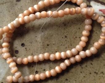 Peachy brown 5mm glass beads, jewelry destash, supplies