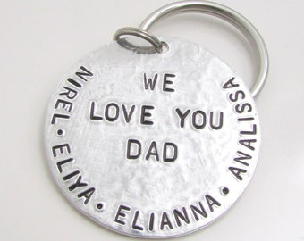 Personalized Dad KeyChain, Personalized Keychain, Father's Day Gift for Dad, Hand Stamped Keychain, Dad Key Chain, Fathers Day (010)