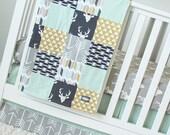 Woodlands Nursery Bedding, Mint, Navy Blue, Mustard Yellow, Grey Crib Bedding, Arrows, Teepees, Deer Woodlands Baby Bedding Set