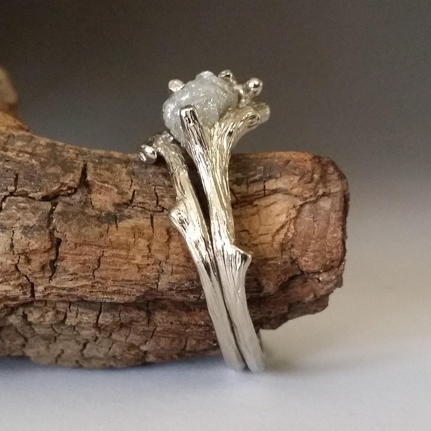 Twig Engagement Ring Raw Uncut White Diamond Branch Bridal
