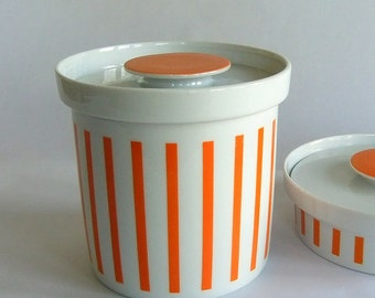 Vintage LaGardo Tackett Schmid Orange White Stripe Cookie Jar, Kitchen Storage Container - Everyone Loves Ice Cream n Candy pattern