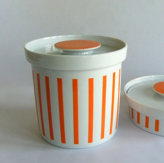 Chocolate Orange Creams Dunmore Candy Kitchen: Vintage LaGardo Tackett Schmid Orange White Stripe Cookie Jar