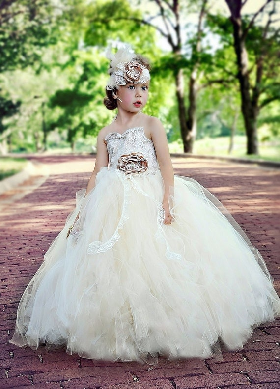 flower girl dress vintage flower girl tutu dress Ivory and