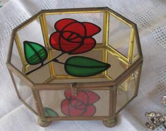 Pretty Glass & Brass Octagonal Jewel Box -  Mirrored Bottom - Rose Appliqué  on Top Vintage Powell
