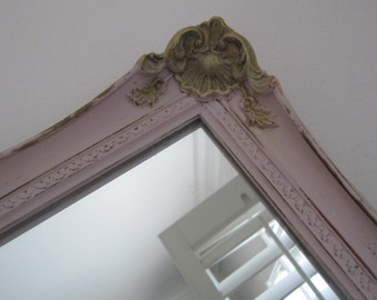 Gilded Regency Wood Framed Mirror - Shabby Chic - Ornate Parisian Wall Mirror Distressed in Pink