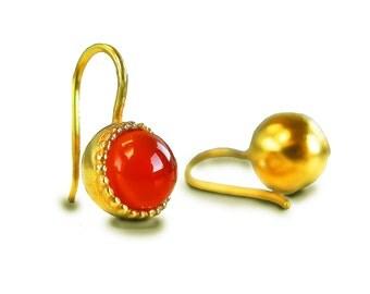 Carnelian Earrings, Orange Gemstone Earrings, Gold Drop Earrings, Small Drop Earrings, Carnelian Jewelry, Orange Earrings, July Birthstone