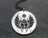 Egyptian Scarab Flower of Life Pendant - handcut sterling silver and oxidised copper - Handcrafted Geometric Jewellery