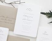 PAPER SAMPLE Mountains Wedding Invitation / Save the Date / Winter Wedding Invitations / Rustic Wedding Invitations / Letterpress Invitation