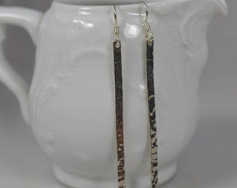Sterling Silver Hammered Bar Earrings