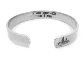 Inspirational bracelet - bohemian jewelry - silver cuff - i am enough as i am - yoga - custom hand stamped - inspirational - motivational
