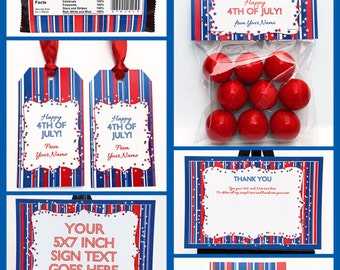 July 4th Party Invitations & Decorations - July Fourth - full Printable Package - INSTANT DOWNLOAD with EDITABLE text - you personalize