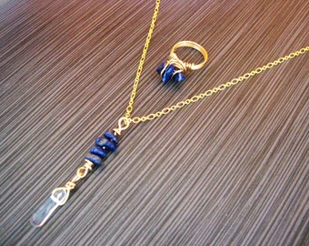 Brass wire/chain Lapis Lazuli NECKLACE and RING set
