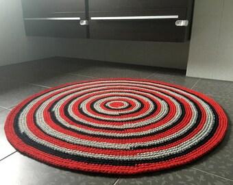 45'' in diameter, beautiful hand crochet area rug