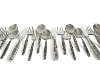 "Stanley Roberts Stainless Flatware Set Service for 4 ""La Spana"" Japan Mid Century Silverware"