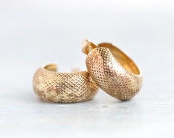 Golden Hoop Earrings - Sterling Silver Hoops - 80s Jewelry