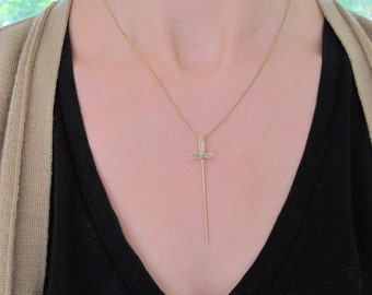 Antique 14k Yellow Gold Inlaid Agate Sword Stickpin Pendant Necklace