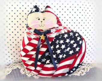 Cat Pillow  July 4th Patriotic Cat Pillow, Cloth Doll 7 inch, July 4, USA,  Primitive  Handmade CharlotteStyle Decorative Folk Art