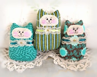 Cat Ornament Set of  3, Dark Seafoam / Olive, Spring Mothers Day Gift Ornies Bowl Fillers Party Favors Decorations Home Decor CharlotteStyle