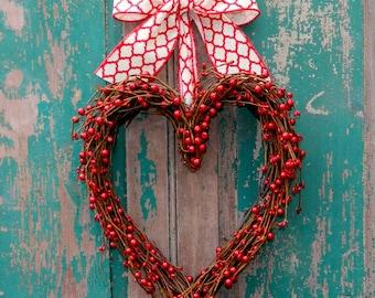 Valentine Wreath - Valentine Gift  - Wedding Wreath - Red Heart Wreath