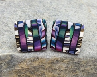 Tapestry Look, Multi Color, Magenta, Violet, Green with Dark Slate Thin Lines, Medium Size, Square, Polymer Clay Post Earrings