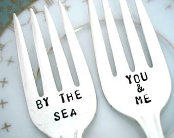 Beach Wedding Cake Forks - Coastal Wedding Decor -  You and Me By the Sea - Desire 1940