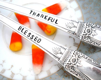 Stamped Spoons - THANKFUL BLESSED- Thanksgiving Decor -  Serving Spoon - First Love 1937