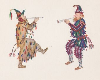"V. Ryndin ""Skomorokhs. Sketch of the costumes for ""Snegurochka"" by A. Ostrovsky"" Postcard -- 1966"