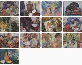 Samovars and Trays. Collection / Set of 13 Still Lifes on Vintage Postcards - 1970s-1980s
