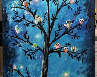 """Tree of Life, OWLS, original  painting, 16"""" X 20"""" stretched canvas, Nursery art on Canvas, unframed Moonlight art, Whimsical art on canvas"""