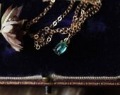Natural Emerald Necklace, Green Emerald Pendant, Small Emerald Necklace, May Birthstone Jewelry, Yellow Gold Necklace, Layering Necklace.