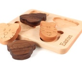 animal faces wooden puzzle - solid hardwood educational toy - handmade wooden toy for toddler, organic finish, new baby gift