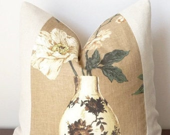 Modern Floral-Yoshino Natural-Decorative Framed Designer Throw Pillow-Flowers and Vase in Brown,Beige,Cream,Green- Pillow with Band