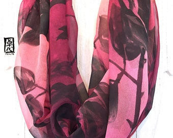 Infinity Scarf, Silk Scarf Handpainted, Gift for her, Gift for Women, Burgundy scarf, Ombre Black Roses Scarf, Chiffon, 14x72 in Loop.