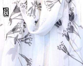 Silk Scarf Handpainted, ETSY, Gift for her, Birthday Gifts, Black and White Scarf, Black Wildflowers Scarf, Silk Chiffon Scarf, 11x60 inches