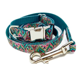 Dog Collar and Leash Set in Moroccan Print*