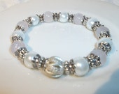 Rose Quartz and White Pearl/Metal-Beaded Stretch Bracelet-Fancy  (299)