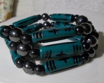 Green Bone Bars- Magnets- 3 Strand- Ethnic-Tribal-Unique-Beaded Stretch Bracelet  (392)