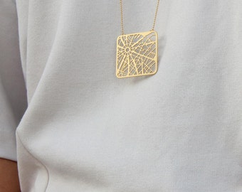 Paris Map Necklace Gold or Silver - Minimalist Geometric Map Necklace, Paris Necklace, Graphic Geometric Jewelry, Holiday Gift for her