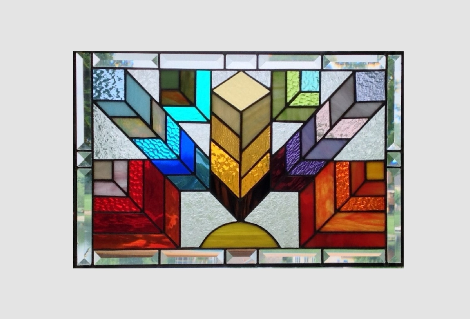 Stained glass window panel arts and crafts rainbow by sghovel for Arts and crafts glass