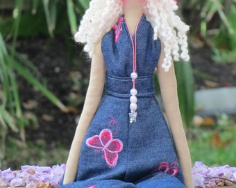 Fabric doll French girl cloth doll blonde stuffed doll handmade rag doll in modern denim clothing gift for girls collectible doll