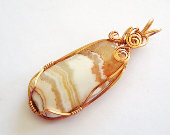 Onyx Pendant, Onyx Necklace,Copper Pendant, Copper Necklace, Wire Wrapped pendant,Orange Striped Gemstone Pendant, GemSalad Jewelry