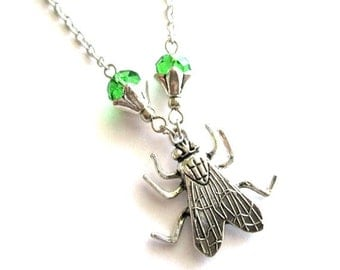 Silver fly necklace jewelry green crystal necklace, insect charm necklace