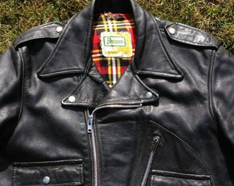 Brimaco Motorcycle Jacket, D Pocket Leather Jacket, Made in Canada, Size 40