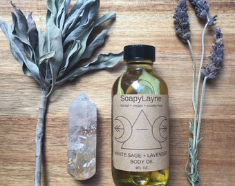 BODY OIL, white sage + lavender body oil, 4oz. massage oil, vegan + cruelty free