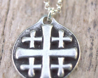 Silver Jerusalem Cross Pendant Necklace, Maltese Cross Jewelry, Masonic Templar Cross, Freemason Masonic Jewelry, Firefighter Necklace