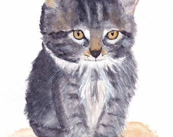Kitten 8x10 Watercolor Painting, feline, cat lover,nursery art,cat,baby animal,kitty,tabby,painting,watercolor,made in ohio, not a print,